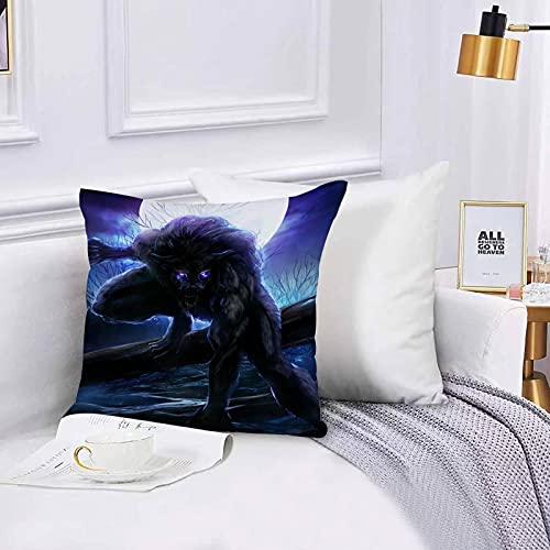 Lilatomer Funda de algodón 45 x 45 cm Hombre Lobo Surrealista con...