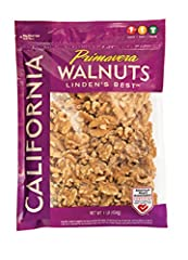 1 Pound re-sealable bag to keep walnuts fresh. Whether it's snacking, baking or in your morning yogurt, Primavera Walnuts are a great addition to a healthy lifestyle. Kick start your day with Primavera Walnuts in your oatmeal for a heart healthy brea...