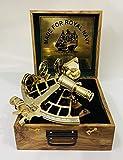 Sextante náutico de latón pulido hecho a mano con caja de madera de 9 cm | Sextante de navegación | Sextante real | Vintage antiguo astrolabio marítimo marítimo sextante coleccionable regalo