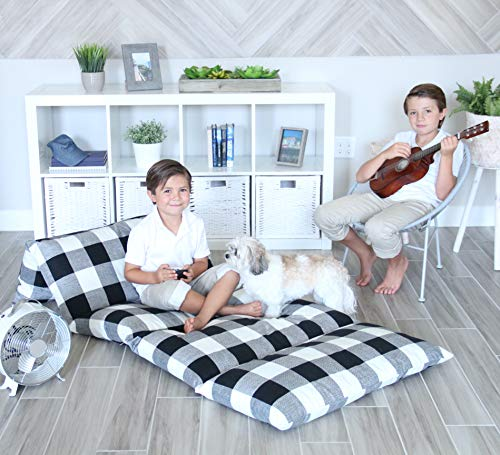 Butterfly Craze Black amp White Gingham Pillow Bed Floor Lounger Cover  Perfect for Pillow Recliners amp Kid Beds for Reading Playing Games or at a Sleepover or Slumber Party  King Size