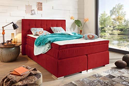 Froschkönig24 Idaho Boxspringbett 140x200cm Bett Komfortbett Kinderbett Jugendbett Rot, Ausführung:Variante 3