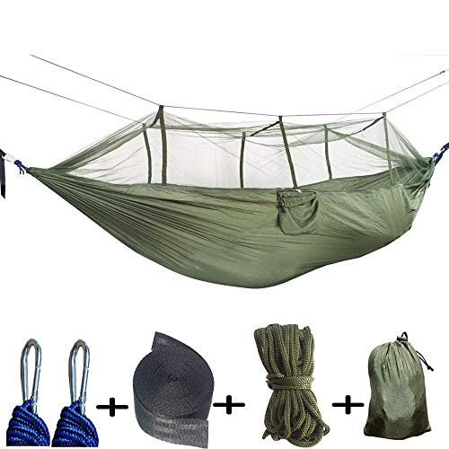 Camping Hammock | 300kg Load Capacity,Breathable,Quick-drying Portable Hammock,Mosquito net hammock, outdoor camping hammock three colors (Color : Green3, Size : 260 * 140CM)