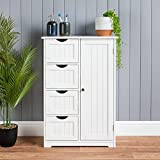 <span class='highlight'><span class='highlight'>CHRISTOW</span></span> Bathroom Cabinet Floor Standing, Wooden White 4 Drawer Storage Cupboard Unit With Shelf