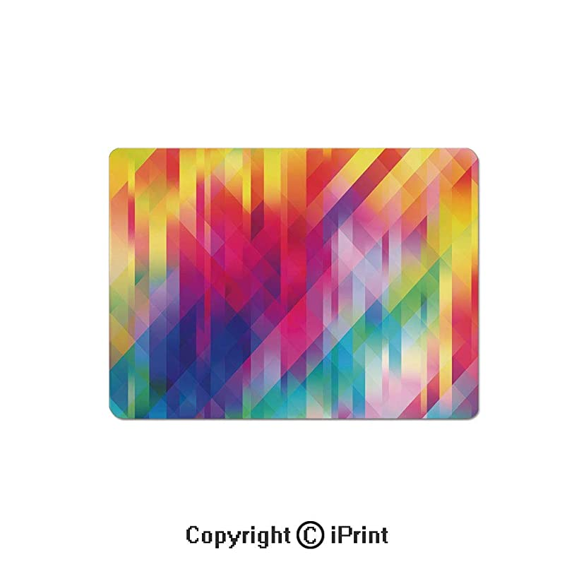 Anti-Slip Mouse Pad,Vertical Diagonal and Crosswise Lines in Rainbow Color Pattern Geometric Shapes Art Mouse Mat,Non-Slip Rubber Base Mousepad,7.9x9.5 inch,Multicolor rigpwyek411013