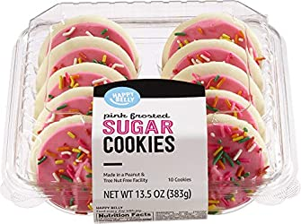 Amazon Brand - Happy Belly Sugar Frosted Pink Cookies, 13.5 Ounce