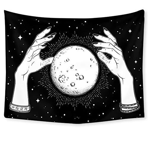 KHKJ Tapices de Pared Colgantes a Mano Mandala Luna Tapiz psíquico Estrellado brujería astrología Dormitorio cabecera Manta de Pared A3 95x73cm