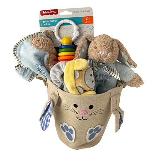 My First Easter Baby Easter Basket Premade Quality Gifts for Infant Boy or Girl (Blue Check)