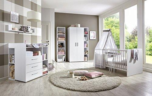 Babyzimmer komplett Set KIM 4 in Weiß, Kleiderschrank Babybett Lattenrost Wickelkommode Wickelaufsatz Wandregal 2 Unterbauregale Standregal