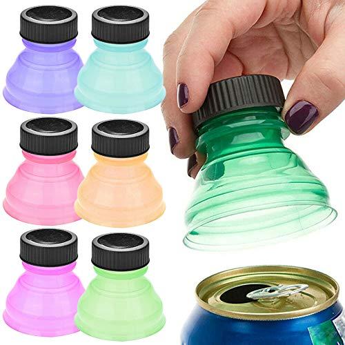 Verschlusskappe für Trinkflaschen, 6 Stück, wiederverwendbar, Anti-Staub-Dosen-Kappe, einfache Reinigung, hochwertiger Kunststoff, Deckel für Soda-Getränke