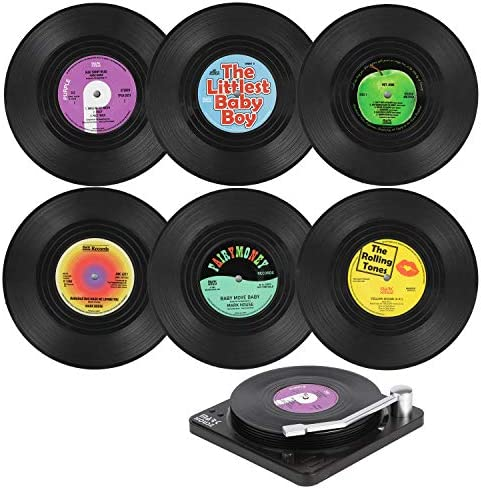 ORNOOU Funny Coasters for Drinks 6Pcs Retro Coasters with Vinyl Record Holder Disk Coasters product image