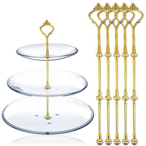 HugeStore 3-stöckige Vintage Metall Etagere Kuchenständer Servierständer Tortenständer ohne Platten Golden