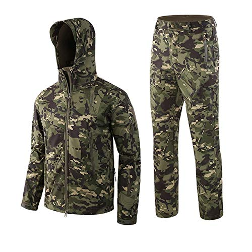 XTYZY Camouflage Jagdanzug Softshell Lauern Outdoor Tactical Military Cashmere Warme Jacke Uniform Hosenanzug