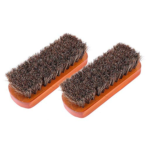 M L Rosshaar-Schuhbürsten, 2 Stück, weiche Reinigung, Politur, für Schuhe, Stiefel, Lederartikel, Herren und Damen (Mahagoni Medium)