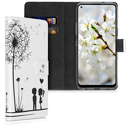 kwmobile Hülle kompatibel mit LG K61 - Kunstleder Wallet Hülle mit Kartenfächern Stand Pusteblume Love Schwarz Weiß