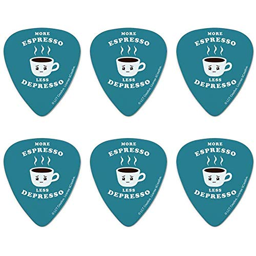 Mehr Espresso Weniger Depresso Depression Kaffee Lustiger Humor Neuheit Gitarrenpicks Mittlere Stärke - 6er-Set