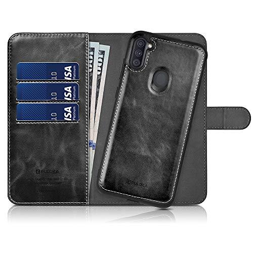 PULOKA Samsung Galaxy A11 Wallet Hülle 2-in-1 Abnehmbare Kartenhalter Flip Cover Leder Magnetische Schutzhülle für Galaxy A11 - Schwarz