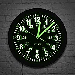 The Geeky Days Military Pattern Retro LED Wall Clock Backlight Neon Wall Watch Army Navy Marine Timing Gift