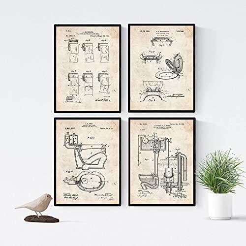SXXRZA Póster Artístico 4 Piezas 40x60cm Sin Marco Pack de 4 Hojas con Patentes WC.Coloca Carteles con inventos y Patentes Antiguas.Elige el Color Que más te guste