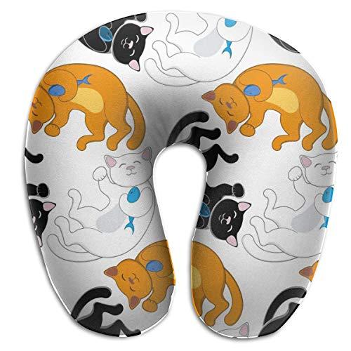 Almohada para el Cuello Gatos Negros, Blancos y Rojos Almohada de Viaje en Forma de U Diseño ergonómico Contorneado Funda Lavable