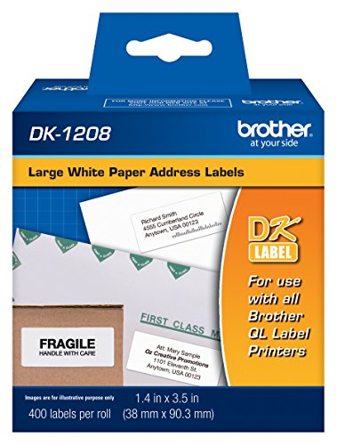 Brother, Die-Cut Large Address Labels, DK-1208, Brother Genuine Labels, Long Lasting Reliability, Die-Cut Large Address Paper Labels, 400 Labels per Roll, (1) Roll per Box