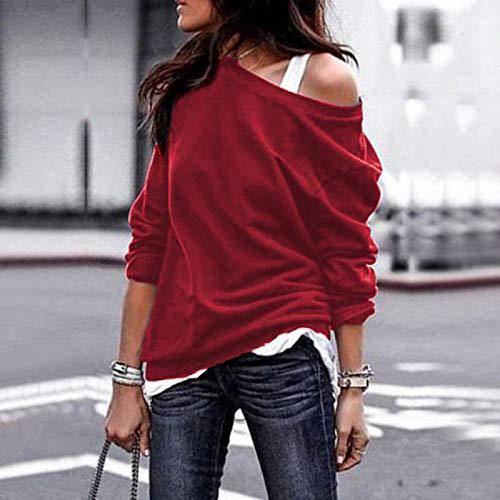 QSDM Camisetas y Blusas para Mujer Sudaderas de Mujer Tops Blusa de Mujer de Manga Larga con Cuello Redondo de otoño e Invierno, suéter de Color sólido-Vino Tinto_SG