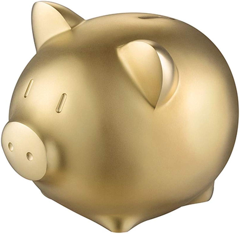 WSGYX Dekoration Sparschwein Metall Messing Sparschwein Wohnzimmer Schlafzimmer Dekoration Einfache Mode Schwein Sparschwein (Farbe   Gold, Größe   11.5CM12.5CM)