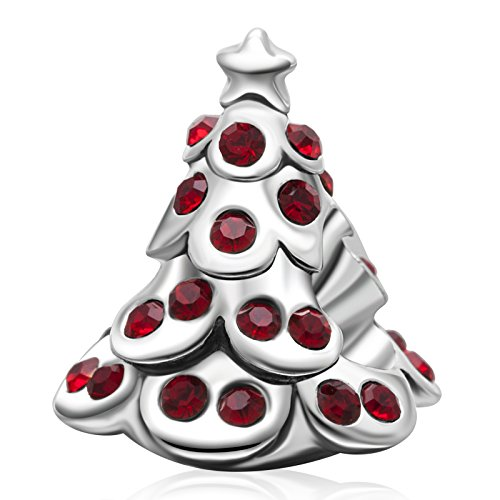 Christmas Charms Authentic 925 Sterling Silver Santa Claus Bead Stocking Bells Reindeer Charm Pendant for Xmas Gift (Red Christmas Tree)