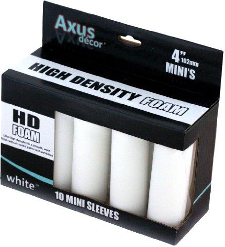 Axus Décor HD Mini-Farbrollenaufsatz aus Schaumstoff, Weiß (10Stück)