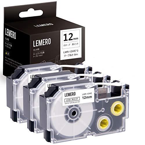 Lemero カシオ用 ラベルライター ネームランド XR-12WE 3個セット 互換テープカートリッジ 白地黒文字 幅12mm 長さ8m テプラテープ