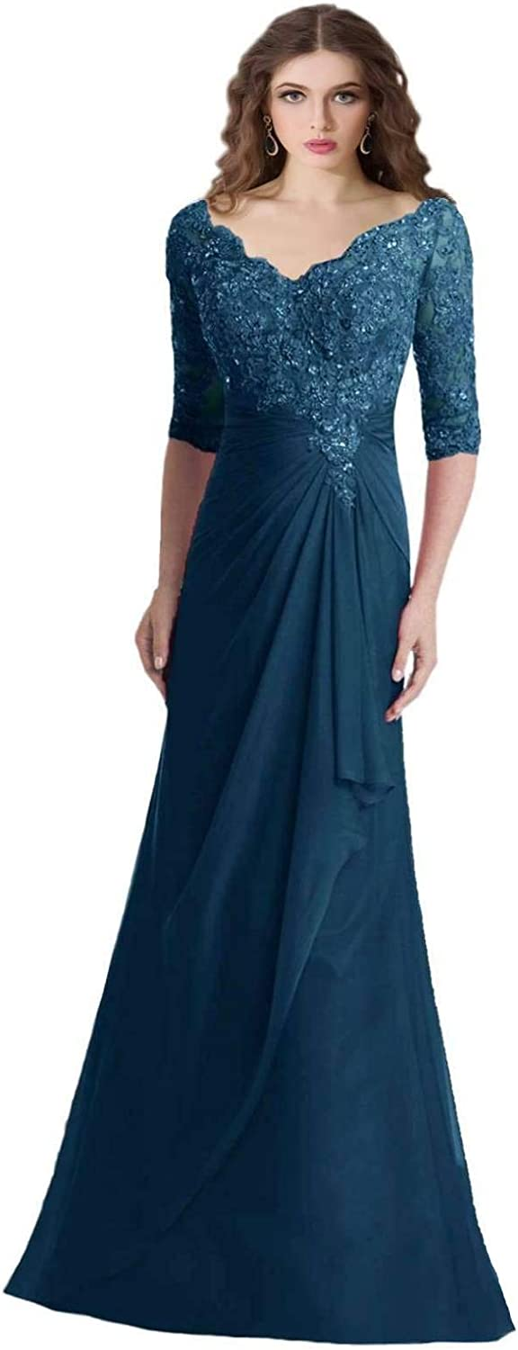 YINGJIABride Woman's Floor Length Mother of The Bride Groom Dresses with Half Sleeve