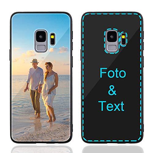 MXCUSTOM Personalisierte Handyhülle für Samsung Galaxy S9, Benutzerdefiniert Kratzfest Gehärtetes Glas Weicher Stoßfänger Hülle mit Eigenem Foto Bild Text Persönliche Schutzhülle (GHS-BK-P1)