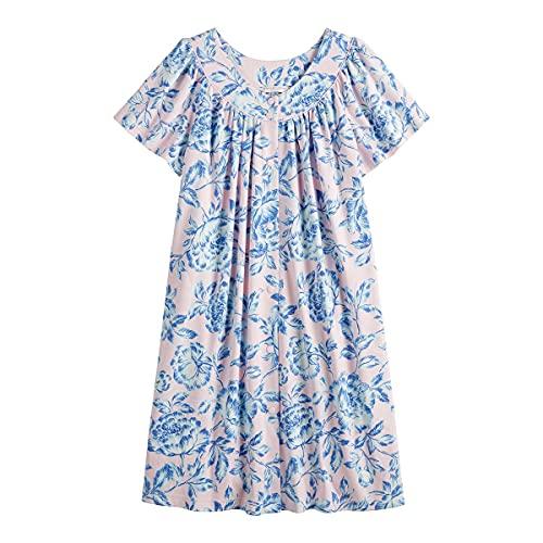 Miss Elaine Essentials Soft Knit Short Snap Robe (Medium, Blue/Pink)