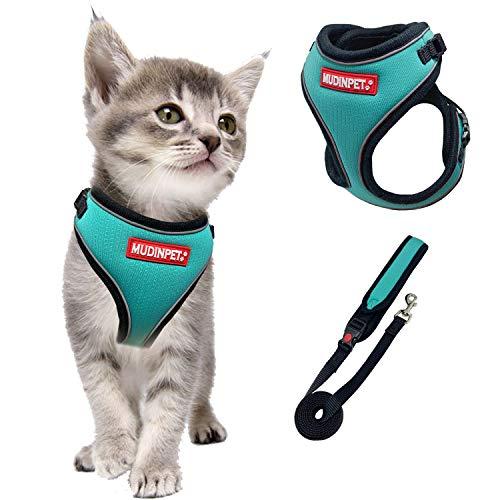 Mudinpet katzengeschirr mit Leine ausbruchsicher, verstellbare weiche Kätzchenweste mit reflektierendem Streifen für Katzen, Bequeme Einstiegsweste für den Außenbereich