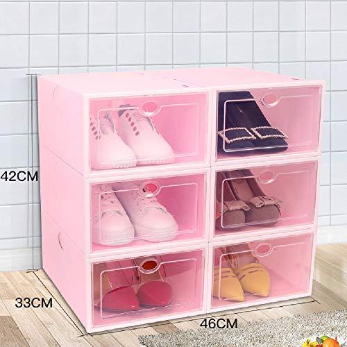 lvfang Schuhkarton Stapelbarer Schuhkarton-Organizer Für Damen Und Herren-Schiebedeckel Einfach Zu öffnen Und Zu Schließen,Pink
