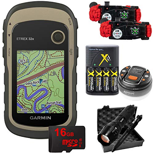 Garmin eTrex 32x: Rugged Handheld GPS with 16GB Camping & Hiking Bundle 010-02257-00