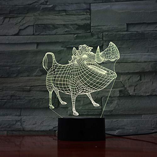Baobaoshop Lumière de Nuit LED décoration 3D Illusion Tactile capteur Enfants Enfants Cadeau décoration Dessin animé Lion Roi Lampe de Table Chambre