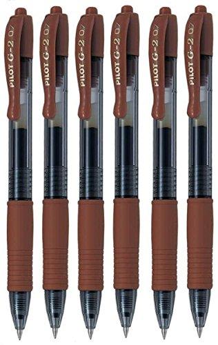Pilot G207Caramel fine retrattile penna inchiostro gel roller 0.7mm Punta Larghezza Linea 0,39mm Refillable BL-G2–7(Confezione da 6)