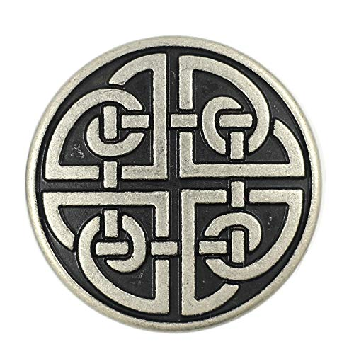Bezelry 10 Pieces Celtic Shield Knot Metal Shank Buttons. 25mm (1 inch) (Antique Silver)