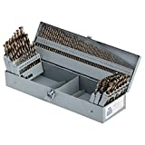 """COMOWARE Cobalt Drill Bit Set- 115Pcs M35 High Speed Steel Twist Jobber Length for Hardened Metal, Stainless Steel, Cast Iron and Wood Plastic with Metal Indexed Storage Case, 1/16"""" - 1/2"""""""
