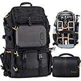 TARION Pro 2 Bags in 1 Camera Backpack Large with 15.6' Laptop Compartment Waterproof Rain Cover...