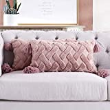 Foindtower Decorative Soft Fur Lumbar Throw Pillow Covers with Tassels Fluffy Embroidery Cushion Cover, Solid Tufted Geometric Pillowcases for Couch Bed Nursery Room 12x20 Inch Set of 2 Dusty Pink