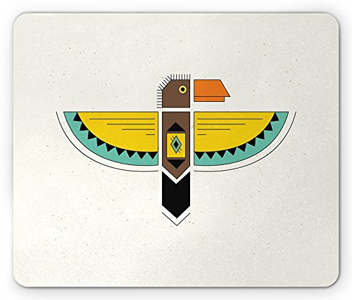 Raven Mouse Pad by, Native American Totem Animal Geometric Artistic Figure Boho Mystic Spiritual Icon, Standard Size Rectangle Non-Slip Rubber Mousepad, Multicolor