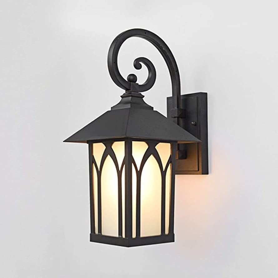 DLGGO American Rural Embedded Garden House Villa Courtyard Outdoor European Wall Lamp Waterproof Wall Sconce Outdoor Retro Frosted Glass Lantern External Patio Lighting E27 (Color : Matte Black)