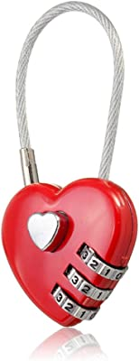 MAXGOODS 3 Pack Combination Lock,Love Heart Wire Rope Digital Combination Padlock for School/Gym/Toolbox/Suitcase/Employee Locker,Red