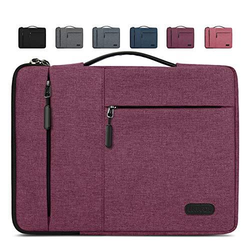 Lubardy Funda Portátil Compatible 13-14 Pulgadas Laptop Impermeable Maletín para Funda Ordenador Portátil Protectora Prueba Golpes Compatible Macbook Air/Pro, HP, DELL, Samsung, etc Vino Rojo