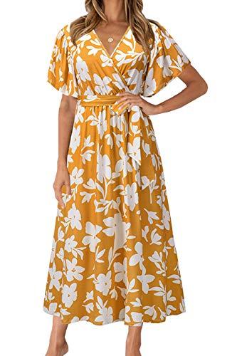 Women's V Neck Flowy Floral Maxi Dress Boho Elastic Waist Summer Long Boho Beach Party Dress Yellow Small