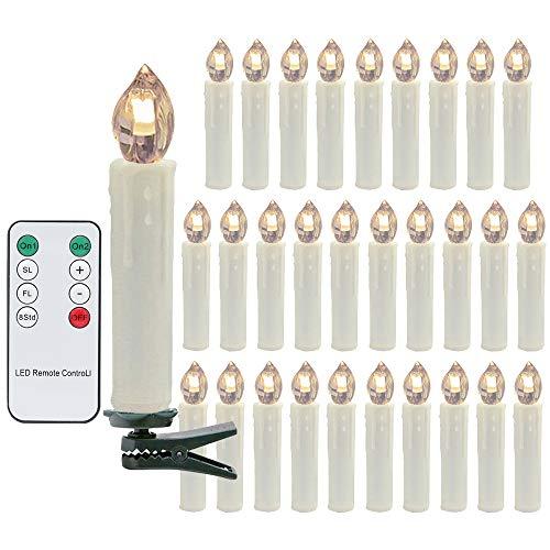 HENGDA® 30stk.LED Lichterkette Christbaumschmuck Party Weihnachtskerzen IR Kabellos Set Fernbedienung