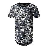Manches Courtes Homme Été Col Rond Mode Trou Homme Streetwear Personnalité Tie Dye Homme Décontractée Chemise Hip Hop Style Tendance Homme T-Shirt F-Gray M