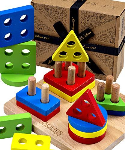 Jaques of London Stapeln und Lernen von geometrischen Formen Puzzle für Kinder Holzspielzeug zum Stapeln - Perfektes Spielzeug für Kleinkinder empfohlen Holzspielzeug zum Stapeln für 1 2 3-Jährige