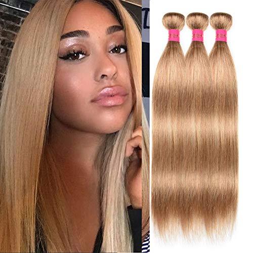 FASHION LADY Honey Blonde Hair Weaves 3 Bundles Peruvian Straight Virgin Human Hair Weaving 100% Unprocessed Virgin Human Hair Bundles Extensions(18 20 22,Honey Blonde #27)